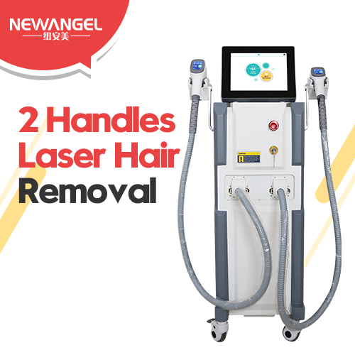 Permanent hair removal equipment double handles diode laser